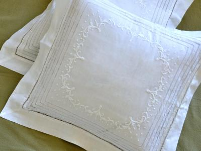 Pair of White Linen Throw Pillow Covers with Scroll Embroidery