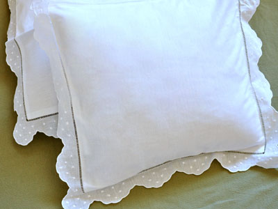 Pair of White Linen Throw Pillow Covers with Scalloped Dot Edges