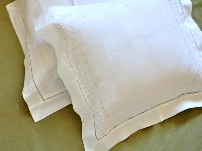 Pair of White Linen Throw Pillow Covers with Diamond Dot Weave
