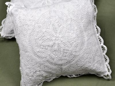 Pair of Throw Pillow Covers with Full Battenburg Lace