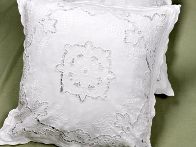 Pair of Throw Pillow Covers with Floral Cutwork