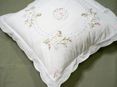 Pair of Throw Pillow Covers with Embroidery and Crochet Lace