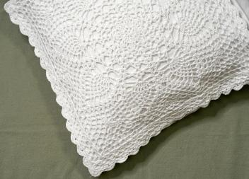 Pair of Throw Pillow Covers with Crochet Lace