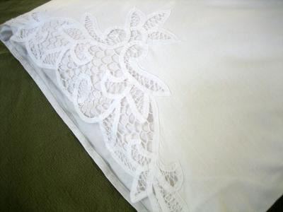 Pair of White Royal Cotton Battenburg Lace Pillowcases