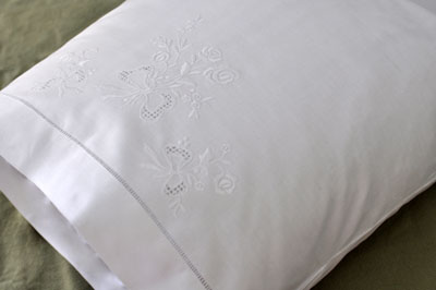 Pair of White Cotton Pillowcases with Rose and Bow Embroidery