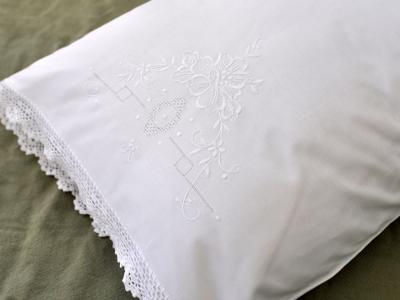 Pair of Linen Pillowcases with Flowers and Crochet Lace Edges