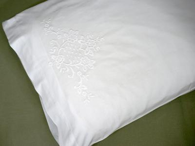 Pair of White Cotton Pillowcases with Royal Floral Design