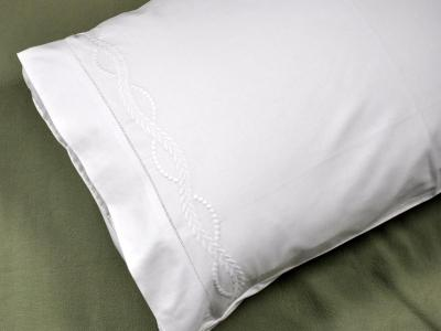 Pair of White Pillowcases with an Infinity Design