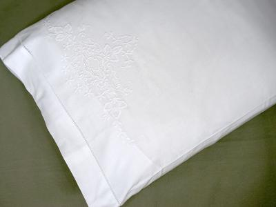 Pair of Cotton Pillowcases with Embroidered Floral Posies