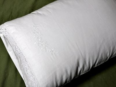 Pair of Cotton Pillowcases with Roses and Lace Edges
