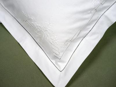 Pair of White Autumn Hemstitched Pillow Shams
