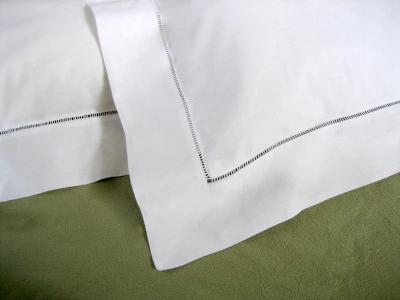 Pair of White Hemstitched Edge Standard Pillow Shams