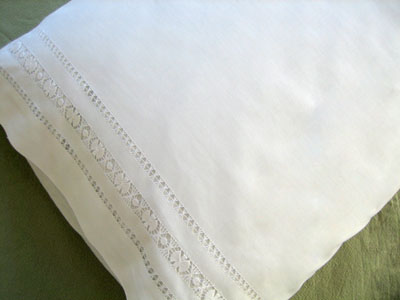 Pair of Cotton Pillowcases with Intricate Drawnwork