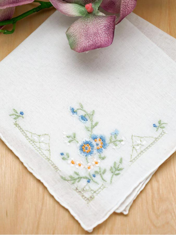 set of 3 something blue flower bridal handkerchiefs