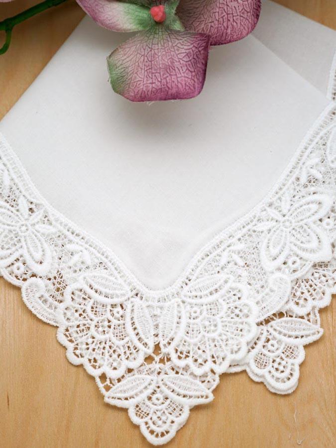 White Blossom German Plauen Lace Ladies Handkerchief