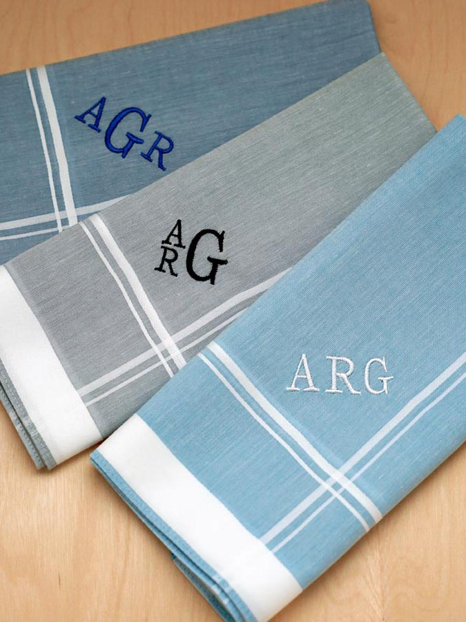 set of 3 mixed blue gray monogrammed mens handkerchiefs