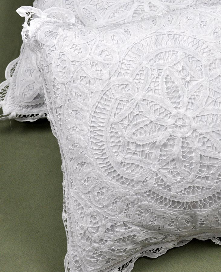 Lace Throw Pillow Covers : Pair of Throw Pillow Covers with Full Battenburg Lace