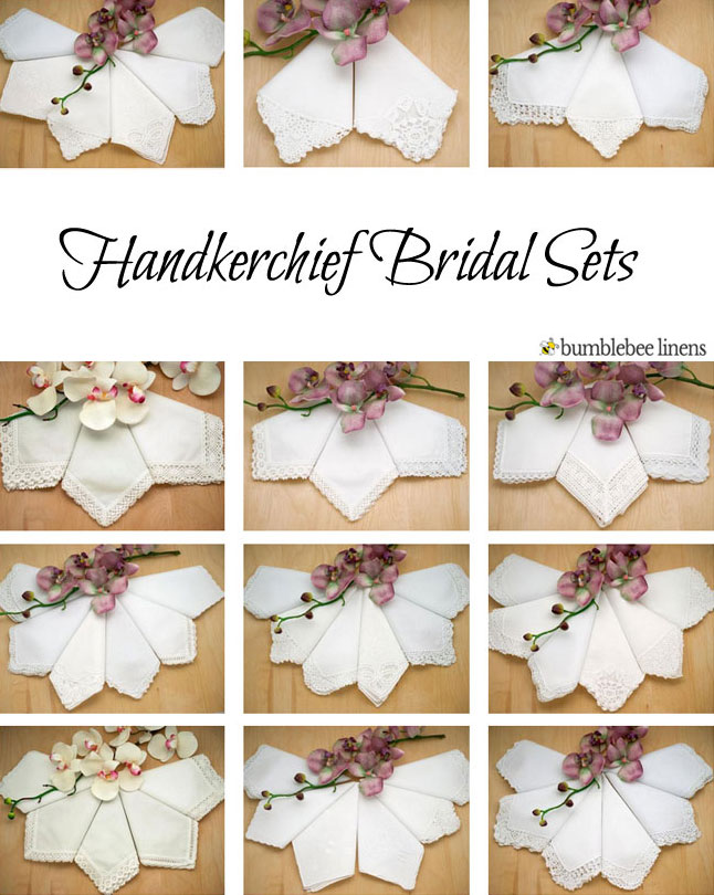 Wedding handkerchief bridal sets bride groom wedding hankies all handkerchiefs are perfect for monogramming and embroidery as well junglespirit Images