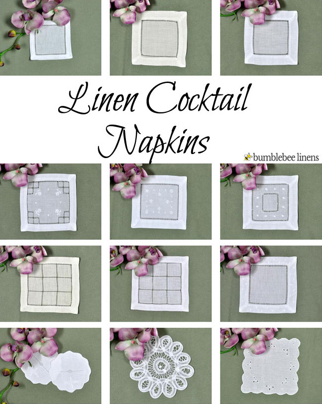 Linen cocktail napkins cloth cocktail napkins beverage coasters junglespirit Images