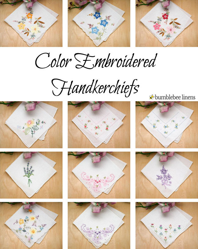 Color Embroidered Ladies Cotton Handkerchiefs, Blue Handkerchiefs, Womens  Handkerchiefs