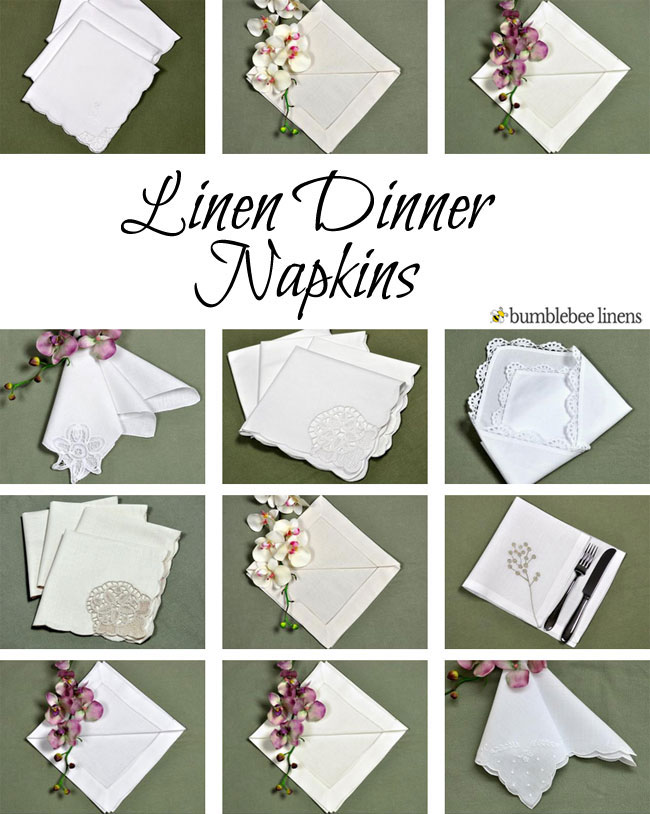 linen dinner napkins  cloth supper napkins  lace napkins