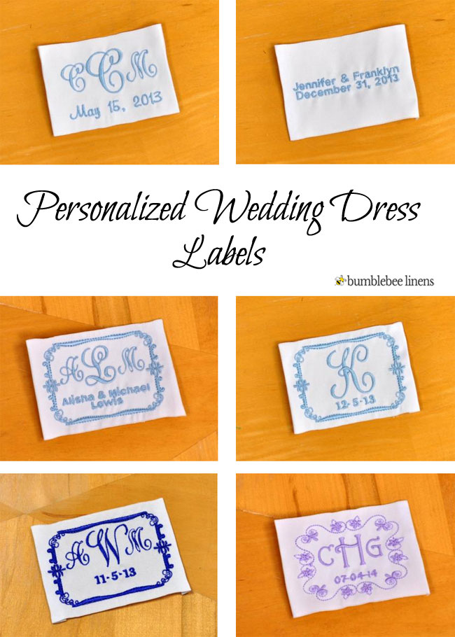 personalized wedding dress labels  monogrammed wedding gown label