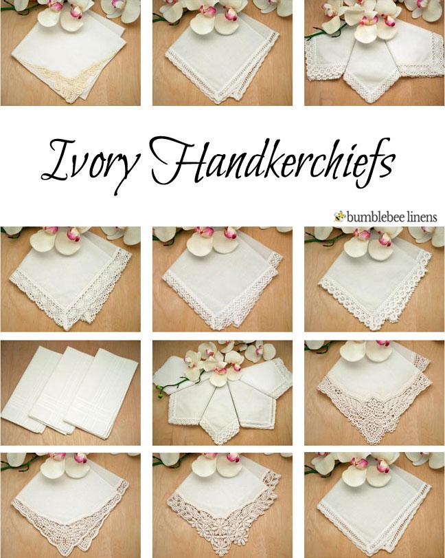 ivory ladies cotton handkerchiefs  ivory handkerchiefs  womens handkerchiefs