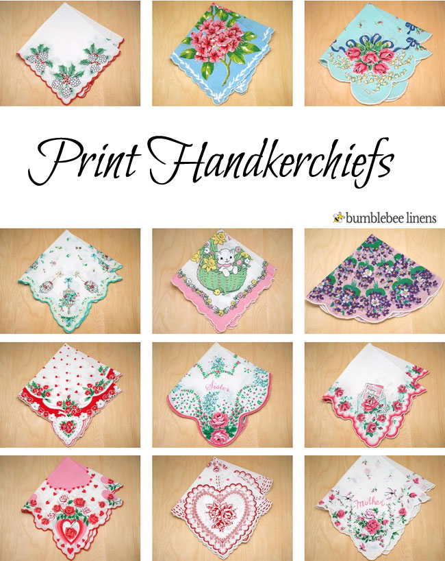 Vintage Inspired Print Handkerchiefs Printed Hankies