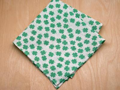 Lucky Shamrock Mens Linen Pocket Square