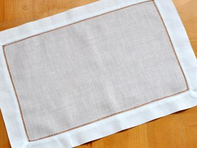 4 Pc Set White Hemstitched Linen Placemats