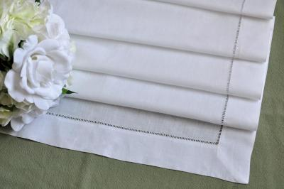 "Extra Long White Hemstitched Linen Table Runner 16""X108"""