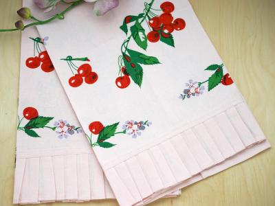 cherry kitchen accessories set of 2 pink vintage inspired cherry print tea towels 2144