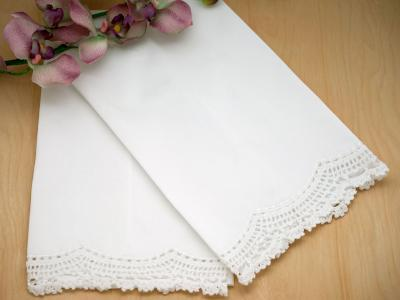Set of 4 Cotton Hand Towels with Lace Edges