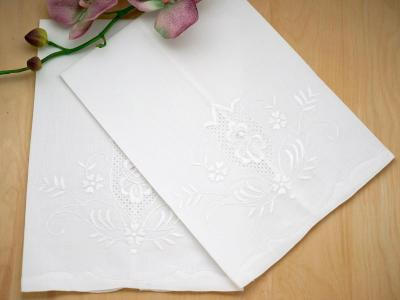 Set of 4 Linen Hand Towels with a Regal Cutwork Design