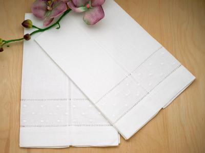 Set of 4 Hemstitched Linen Hand Towels with Embroidered Dot Rows