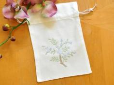 Set of 3 Hankie Favor Bags with Blue Flowers