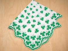 Vintage Inspired Luck of the Irish Print Hankie
