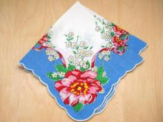 Vintage Inspired Blossoming Peony Print Hankie