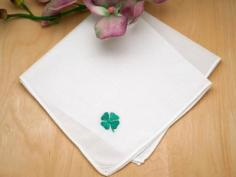 Irish Linen Shamrock Embroidered Handkerchief