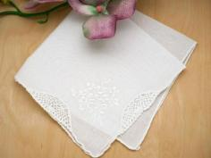 Set of 3 White Embroidered Handkerchiefs with Lily of the Valley