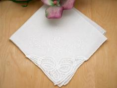 Set of 3 White Battenburg Lace Corner Handkerchiefs with Roses