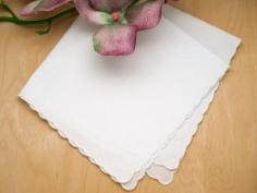 Set of 3 White Scallop Edge Ladies Handkerchiefs