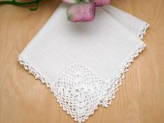 Irish Linen Shamrock Ladies Lace Handkerchief
