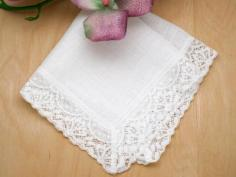 Irish Linen Fan Ladies Lace Handkerchief