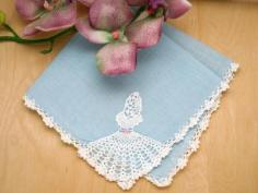 Blue  Crochet Lace Handkerchief