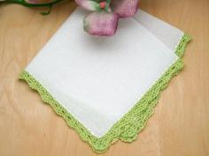 Set of 3 Small Crochet Lace Handkerchiefs with Green Edges