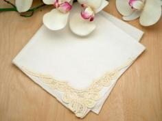 Set of 3 Ivory Battenburg Lace Loop Corner Handkerchiefs