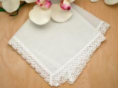 Set of 3 Ivory Cathedral Lace Wedding Handkerchiefs