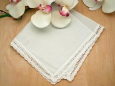 Set of 3 Ivory Scallop Ribbon Wedding Handkerchiefs