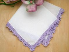 Set of 3 Scallop Crochet Lace Handkerchiefs with Purple Edges